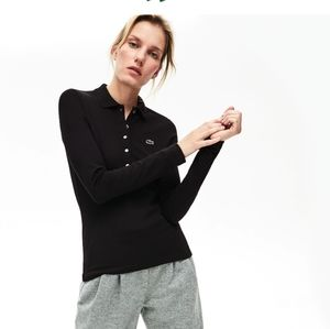Lacoste slim fit mini pique long sleeve polo